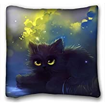 Custom Cotton & Polyester Soft ( Animals cat cat Kote fluffy grass ) Custom Zippered Pillow Case 16x16 inches(one sides) from Surprise you suitable for Queen-bed PC-Orange-2016