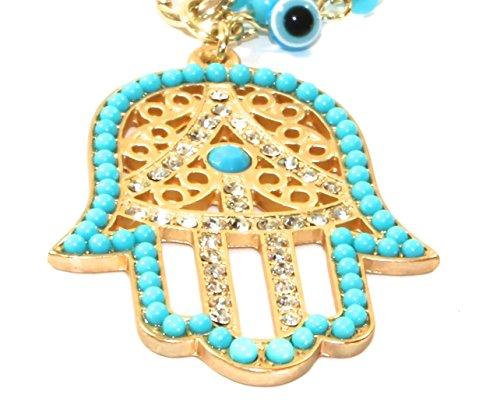 Triple Turquoise Blue Beads Gold Metal Hamsa Hand Bracelets