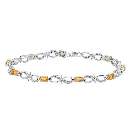 Dazzlingrock Collection Ladies Link Bracelet, Sterling Silver