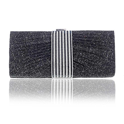 Glitter wire in Damara Rulex Womens Bag Black Crystal Evening Clutch SPxq5Bp