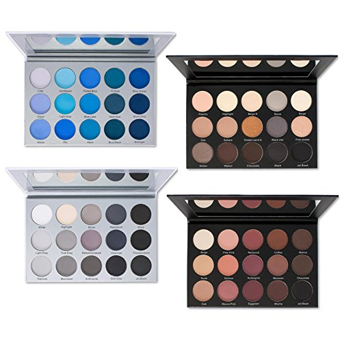 Kara Beauty 15 COLOR SMOKY EYESHADOW PALETTE BUNDLE-SET OF 4