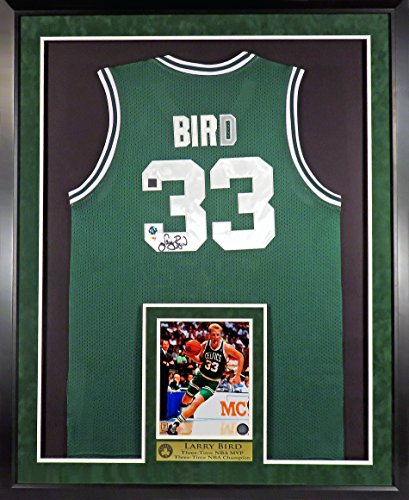 Larry Bird Autographed Boston Celtics Jersey with Inset Photo & Floating Plate Framed (COA)
