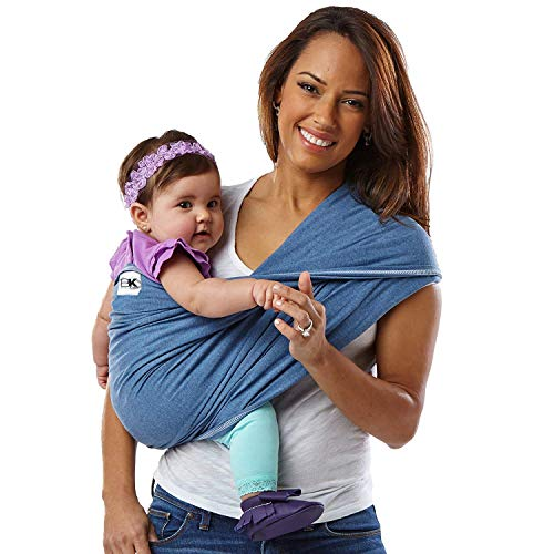 Baby K'tan Original Baby Wrap Carrier, Infant and Child Sling - Simple Wrap Holder for Babywearing - No Rings or Buckles - Carry Newborn up to 35 lbs, Denim, L (W dress 16-20 / M jacket 43-46) (Best Place To Get Denim Jackets)