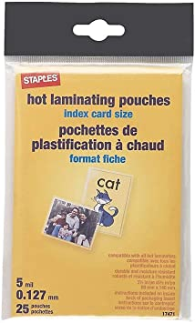 Amazon Com Staples 489534 5 Mil Index Card Size Thermal Laminating Pouches 25 Pack Office Products