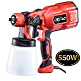 Delxo 800ml Paint Sprayer 550W High Power HVLP Paint Sprayer Patent Spray Width Control Knob,Even Spray,No Leaking Perfect for Beginner Painting Fences,Walls,Floor and Furnitures 3 Copper Nozzle