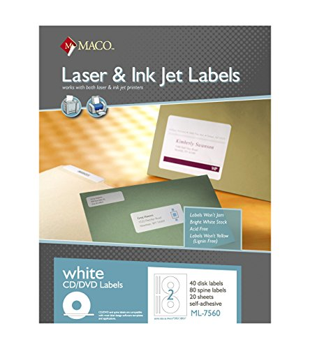 MACO Laser/Ink Jet White CD/DVD Labels, Face and Spine, 2 Face and 4 Spine Per Sheet, 40 Face and 80 Spine Per Pack (ML-7560)
