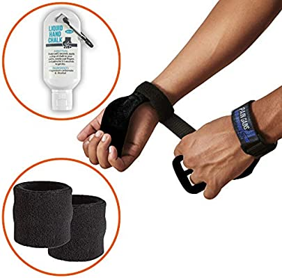 Pain Gains - Kit de Agarres de Entrenamiento para Gimnasia CrossFit Gym Hand Grips - Soporte de Muñeca Unisex para Levantamiento de Pesas con Calleras + ...