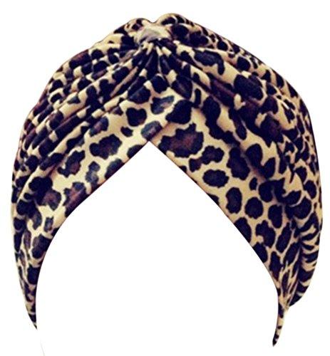 (EachWell Women Print Pleated Ruffle Stretch Turban Hat Hair Wrap Cover Up Sun Cap Leopard , 22.83