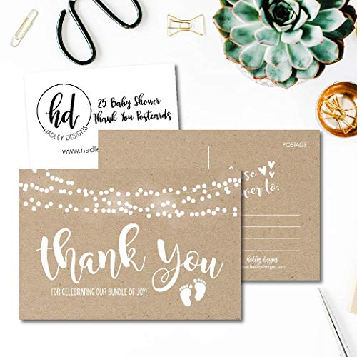 25 Girl or Boy Rustic Baby Shower Thank You Note Card Bulk Set, Blank Cute Kraft Gender Reveal Neutral Sprinkle Postcards, No Envelope Needed For Party Gift Personalize Printable Cardstock Paper Photo #2