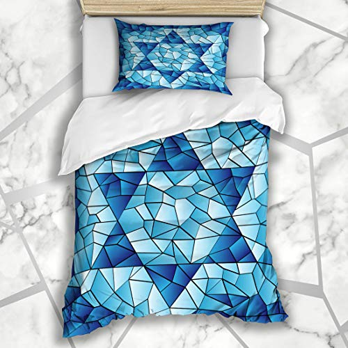 (Ahawoso Duvet Cover Sets Twin 68X86 Blue Hanukkah Six Pointed Star Stained Chanukah Jewish David Passover Glass Window Pattern Design Microfiber Bedding with 1 Pillow Shams)