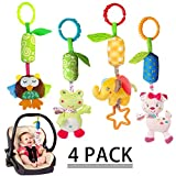 ABS COCO Toy 4 Piece Set Rattle cat seat Hanging Bell for Newborn Children Playing Hand Bell for Baby Stroller Baby Stroller Cute Animal Baby Rattle Toy (owl, Elephant, Frog and cat) (# 1)