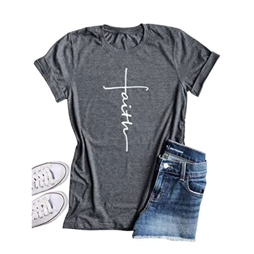 SCX Women Cross Faith Blessed Jesus Printed Letter Christian Tshirts Graphic Tees Tanks