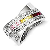 Sterling Silver Multicolored Cubic Zirconia Ring - Size 8