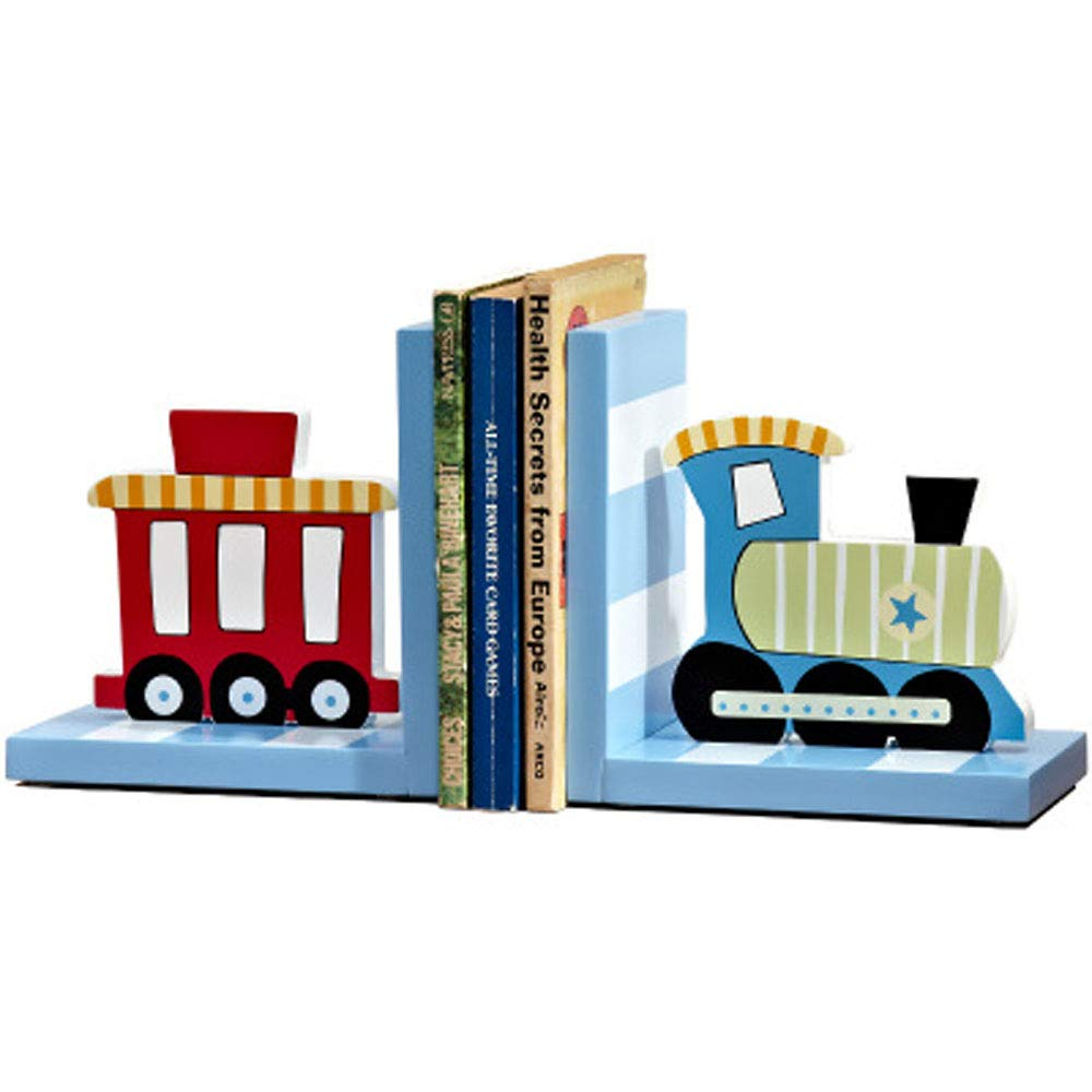 Solid Wood Chow Chow Train Bookend Kids Train Themed Chow Chow Train bookends for Boys Nursery or Bedroom Little Boy Gift Idea (Blue) by CribMATE