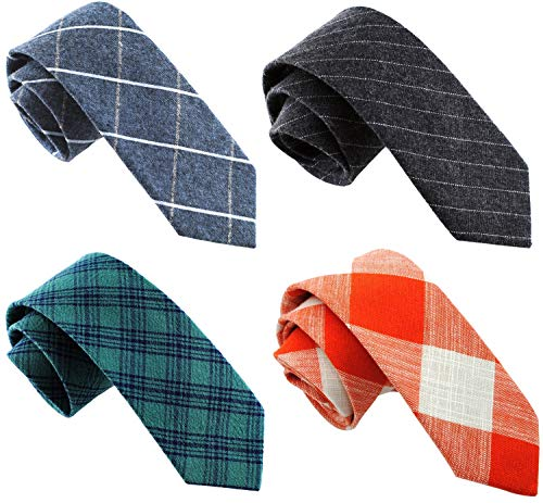 Casual Skinny Neckties for Men Cotton Plaid/Floral Slim Tie ()