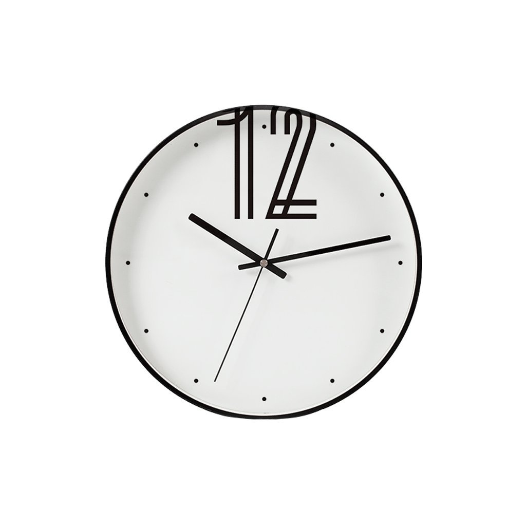 掛け時計 ノルディックスタイルの壁時計12インチモダンなシンプルなリビングルームモノクロアートクロックレストランベッドルームのパーソナリティサイレント直径30.5cm Rollsnownow B07F1SK52N