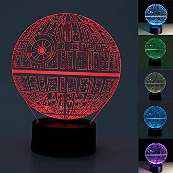Amazon.com: Stebcece Death Star 3D LED Night Light Touch Switch Desk Table  Lamp 7 Color New: Home U0026 Kitchen