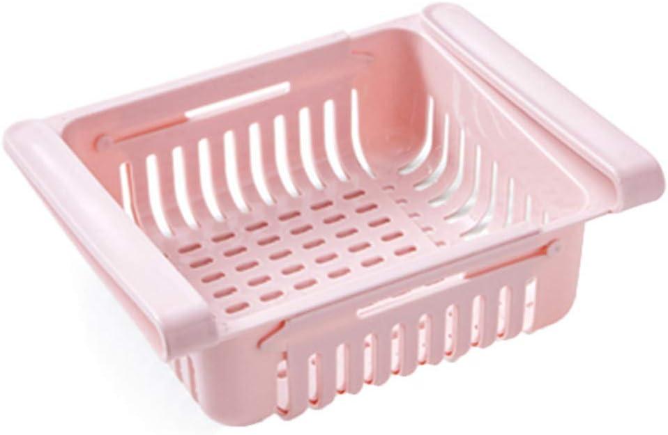 Fridge Storage Organizer Creative Fridge Layer Storage Rack Refrigerator Partition Sliding Drawer Food Crisper Holder Fresh-keeping Layered Organizers Drawer (Pink)