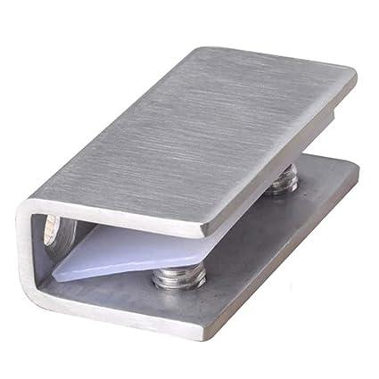 Abrazaderas de cristal, acero inoxidable 8-12 mm, soportes ajustables, bisagra fija para puerta de cristal, para vitrina de vidrio/puerta de armario ...