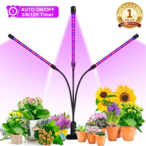 (Grow Light, Ankace [2019 Upgraded Version] 60W Tri Head Timing 36 LED 5 Dimmable Levels Plant Grow Lights for Indoor Plants with Red/Blue Spectrum, Adjustable Gooseneck, 3/6/12H Timer, 3 Switch Modes)