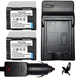 Two Halcyon 3200 mAH Lithium Ion Replacement Battery and Charger Kit for Canon VIXIA HF10, HF11, HF100, HF20, HF200, HFS10, HFS100, HFS20, HFS21, HFS200, HG20, HG21, M30, M31, M32, M300 Digital Camcorders