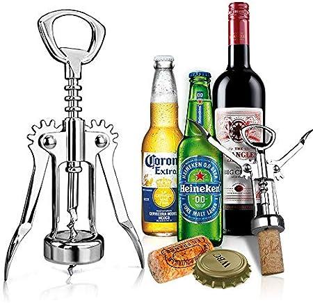 Abridor de Sacacorchos, Sacacorchos Vino [Reforzado] [Irrompible] Bottle Opener Profesional, Tapón de Corcho y Abridor de Botellas de Cerveza para Cocina, Restaurante, Castillos y Bares