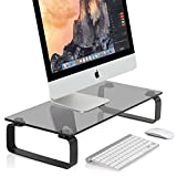 FITUEYES Tempered Glass Computer Monitor Printer Machine StandRiser TV Shelf Risers Stand 4.7'' High 23.6'' Save Space Desktop Stand for Xbox One/Component/Flat Screen TV-Black DT106005GB