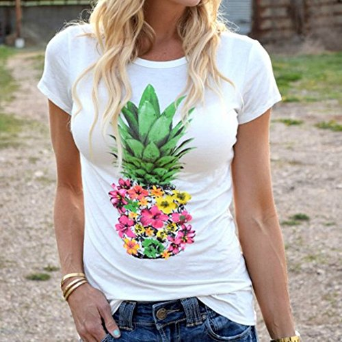 969086fe86f5 Piña Impreso Slim T Casual Camiseta Para Tops Blanco O Mujer Corta Sport  Estirado shirt Fit ...