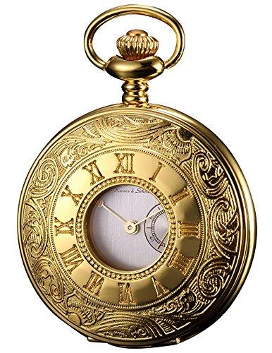 Gold Hunters Case Pocket Watch (KS Half Hunter Series Unisex Japan Quartz Gold Steel Case Chain Pocket Watch)