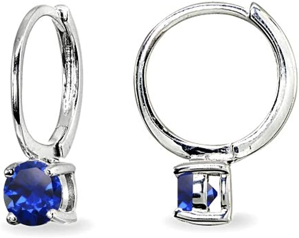 Sterling Silver Genuine or Synthetic Gemstone 5mm Solitaire Small Round Huggie Hoop Earrings for Women Teen Girls