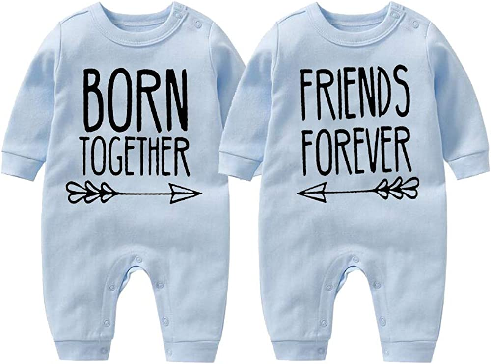culbutomind Born Together Friends Forever Cute Twins Baby Body para recién nacido gemelos ropa de regalo