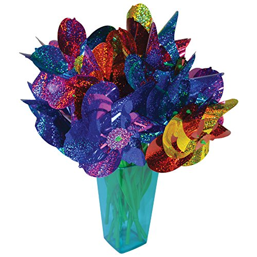 In the Breeze Mylar Rainbow Flower Pinwheel with Leaves - Assorted 2 Tone Color Spinners - 16 Pieces