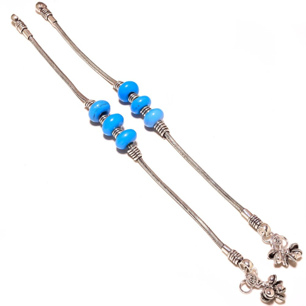 Handmade Jewelry Blue Chalcedony Beads Sterling Silver Overlay Anklet Pair 8-9 Gift For Teen