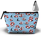Trapezoidal Toiletry Pouch Makeup Travel Cosmetic Bag Swim Ring Shark Pattern Portable Phone Coin Storage