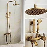 MCC Rain Shower System With Handshower and Adjustable Slide Bar Brushed Nickel Finish New Brass Ceramics Telephone HandHeld Shower Head With Hose Retro Style , A
