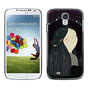 [Neutron-Star] Snap-on Series Teléfono Carcasa Funda Case Caso para Samsung Galaxy S4 [Chica de pelo Negro Arte Pintura]