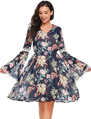 Zeagoo Women's Bell Sleeve Chiffon Floral Tunic Dress