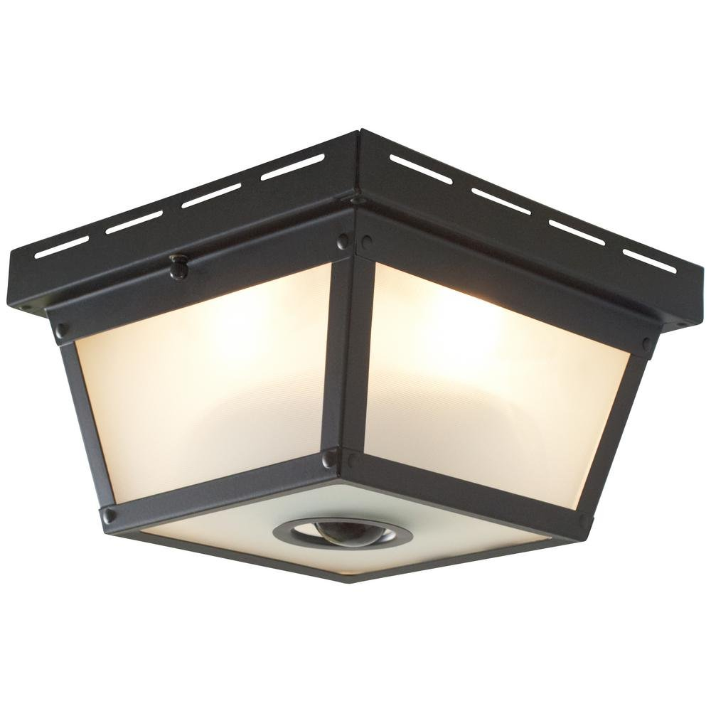 360 square 4 light black motion sensing outdoor flush mount