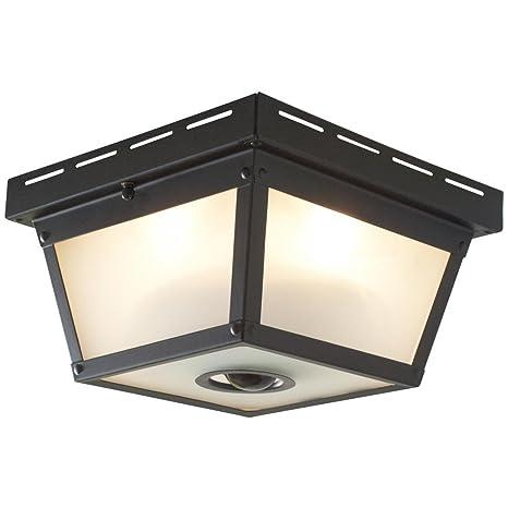 size 40 6bebf ba060 360° Square 4-Light Black Motion Sensing Outdoor Flush Mount
