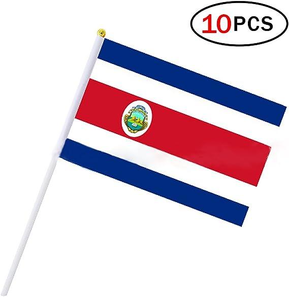 Banderas Pequeñas,Banderas de Mano,Bandera de Costa Rica con 14 x 21 CM Juego de 10 PCS Mini Bandera Nacional Mini Bandera Costa Rica: Amazon.es: Deportes y aire libre