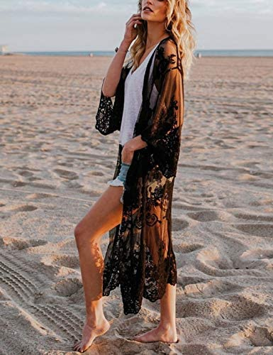 Ailunsnika Crochet Knitted Beach Cover Up Open Front Kimono Cardigan Sexy Lace Dress
