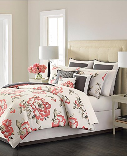 Martha Stewart Collection Peony Blossom 9 Piece Queen Comforter Set Multi Coral -