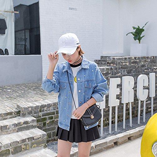 Ripped Blue Button Sleeve Light Denim Long Up Women Jacket Pearl Boyfriend VERYCO Top Jean Bead Coat Outerwear Fa5B0qxw