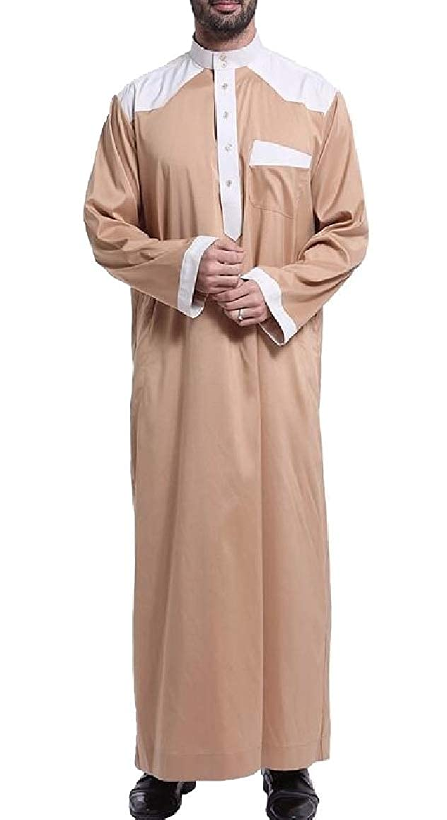 ouxiuli Mens Long Sleeve Muslim Stand Collar Arabic Thobe Kaftan Shirt