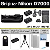 Professional D7000 Multi-Purpose Battery Grip for Nikon D7000 DSLR Camera & an eCostConnection 16pc Omega Bundle