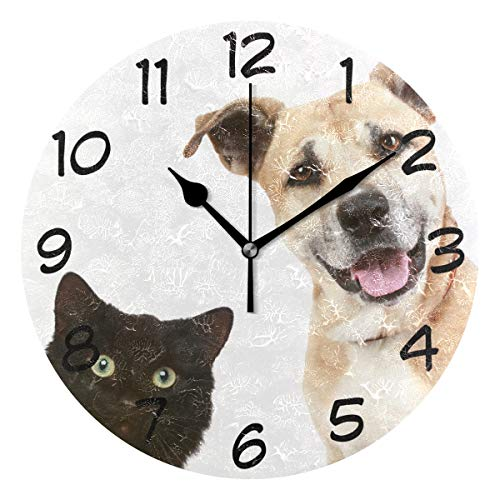 LORVIES Portrait of Cat and Dog Wall Clock Silent Non Ticking Acrylic Decorative 10 Inch Round Clock for Home Office School