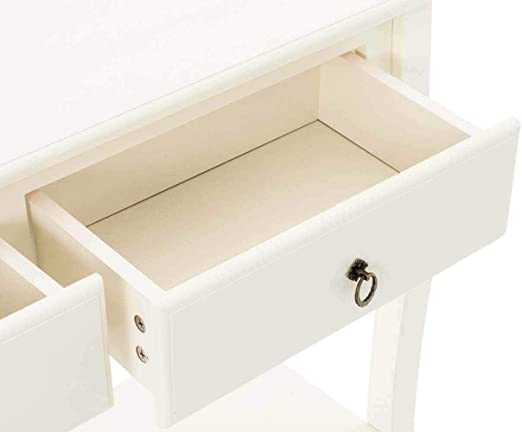 Meuble de Couloir en Bois de Pin et MDF Hx LxP Blanc Table de Chevet 78 x 100 x 33 cm Design Rustique avec 2 Tiroirs CLP Table de Console en Bois LIV