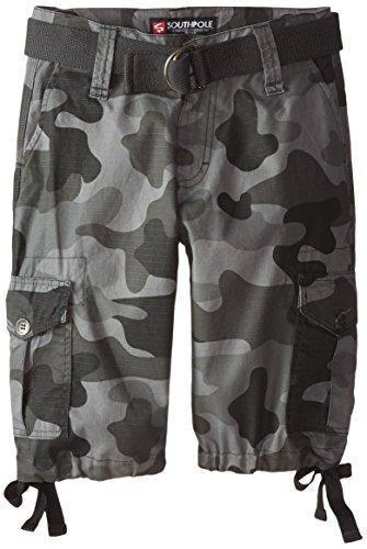 Southpole Big Boys Ripstop Belted Camo Cargo Shorts, Greyblack, (Boys Cargo Camo)