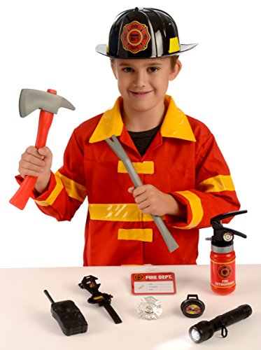 Kangaroo's Role Play Firefighter Costume & Fireman Toys Kit (11 Pc) - Halloween Costumes For 3 People Group