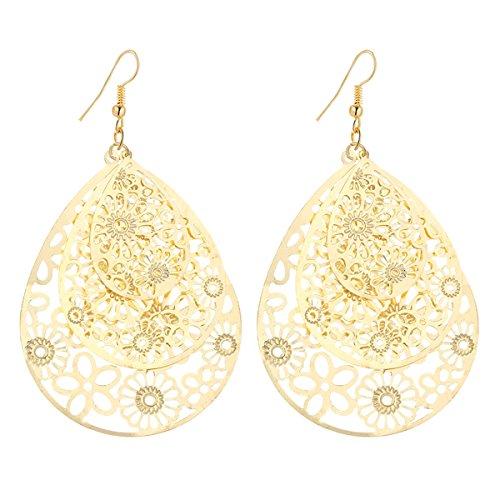 IDB Delicate Filigree Dangle Triple Flower Pattern Drop Hook Earrings - available in silver and gold tones (Gold tone) - Gold Filigree Circle Earrings